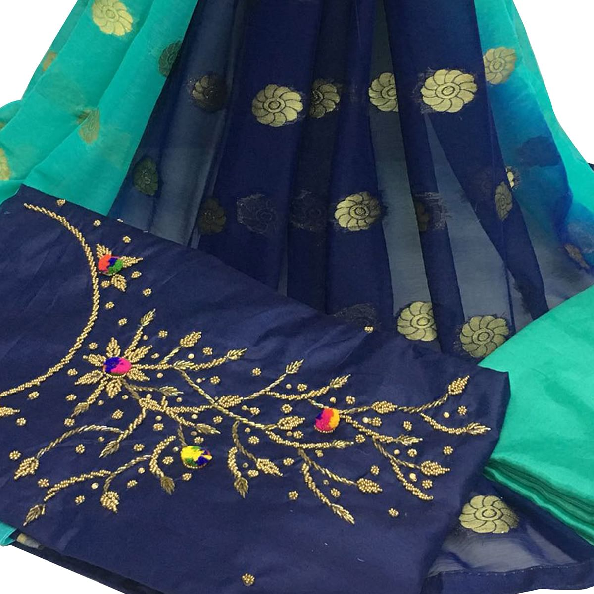 Attractive Navy Blue Colored Partywear Embroidered Santoon Dress Material