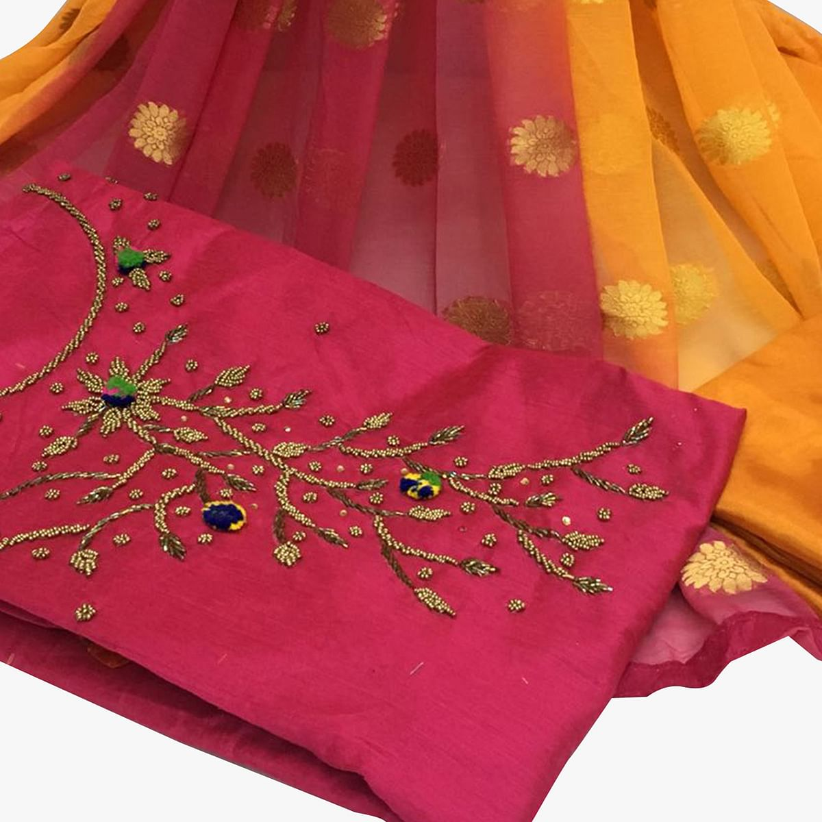 Charming Dark Pink Colored Partywear Embroidered Santoon Dress Material