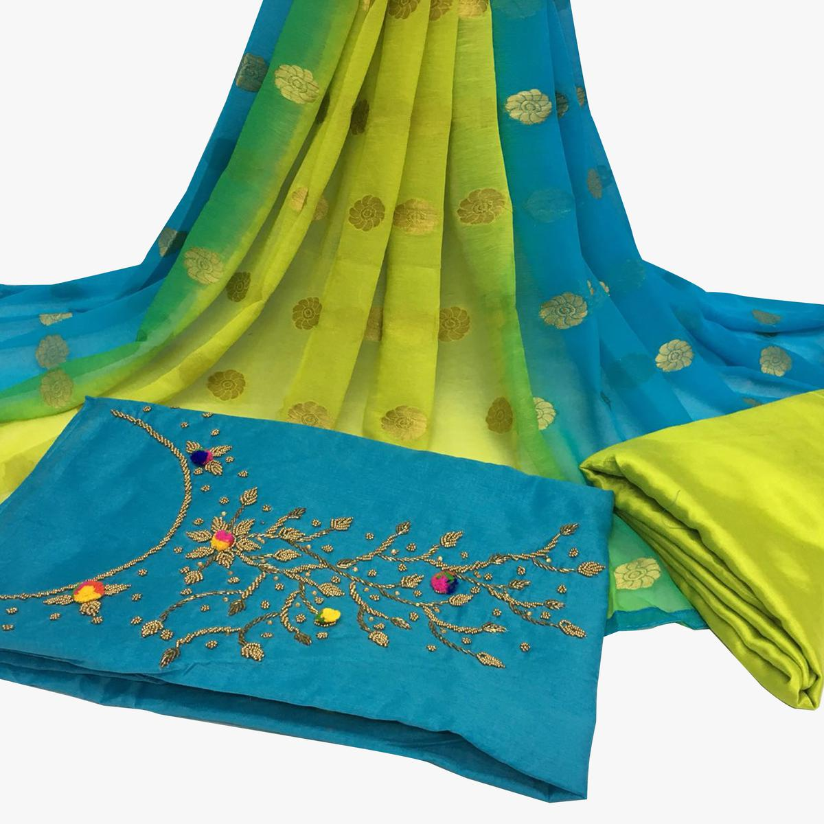 Pretty Sky Blue Colored Partywear Embroidered Santoon Dress Material