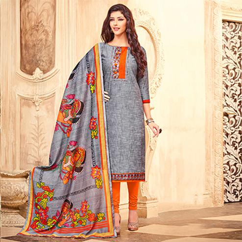 Lovely Gray Printed Partywear Art Silk Dress Material