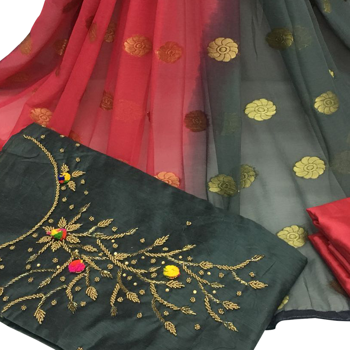 Trendy Dark Gray Colored Partywear Embroidered Santoon Dress Material
