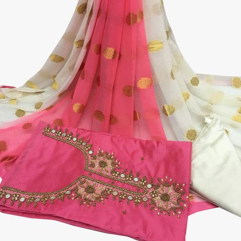 Blooming Light Pink Colored Partywear Embroidered Santoon Dress Material