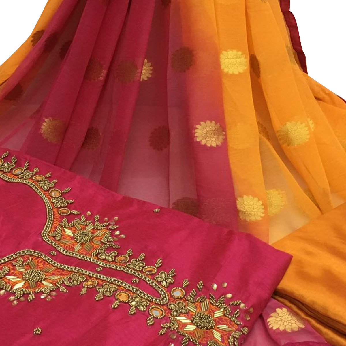 Opulent Dark Pink Colored Partywear Embroidered Santoon Dress Material