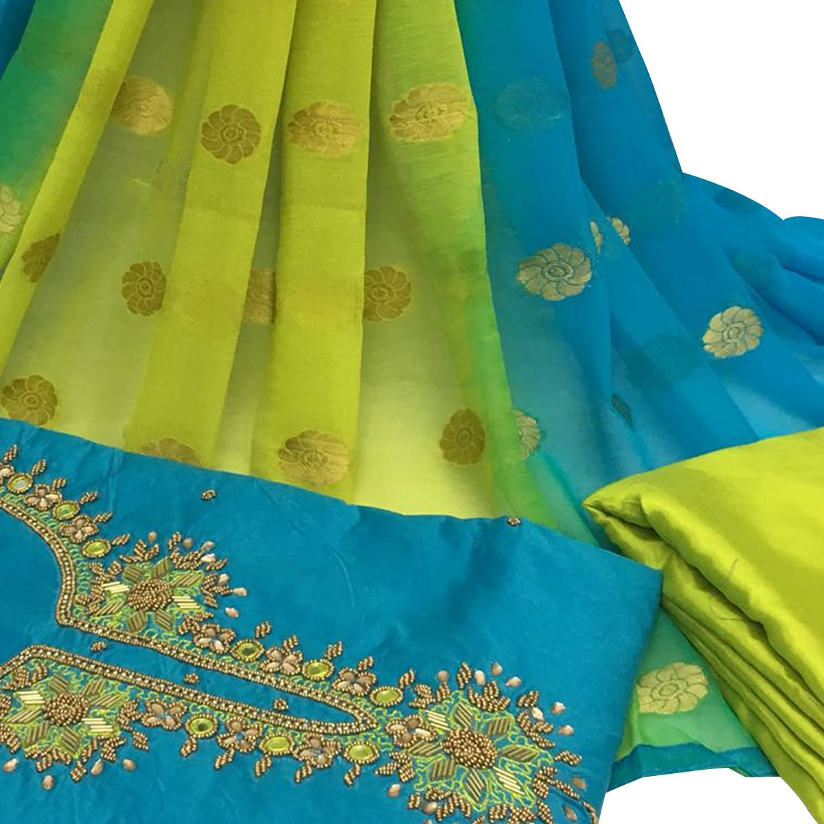 Impressive Sky Blue Colored Partywear Embroidered Santoon Dress Material