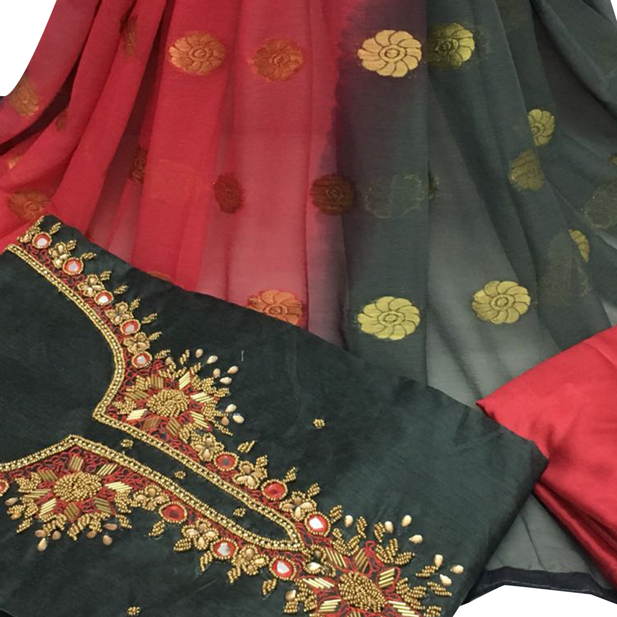 Exceptional Dark Gray Colored Partywear Embroidered Santoon Dress Material