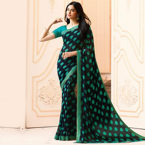 Navy Blue-Green Colored Casual Wear Printed Georgette Saree