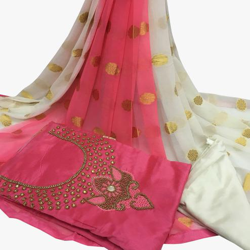 Irresistible Light Pink Colored Partywear Embroidered Santoon Dress Material
