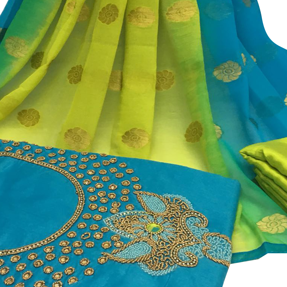 Groovy Sky Blue Colored Partywear Embroidered Santoon Dress Material