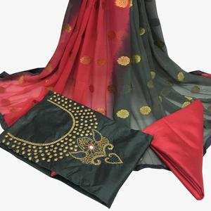 Flaunt Dark Gray Colored Partywear Embroidered Santoon Dress Material