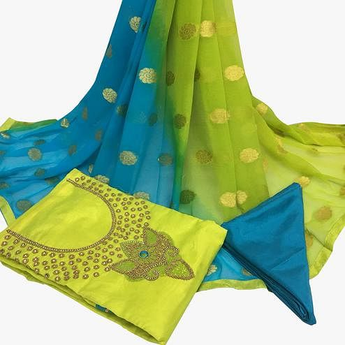 Flamboyant Lemon Green Colored Partywear Embroidered Santoon Dress Material