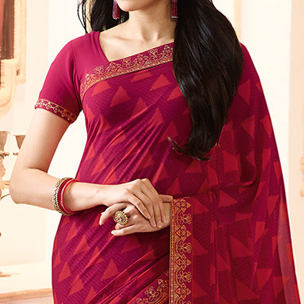 Dark Pink Colored Casual Wear Printed Georgette Saree