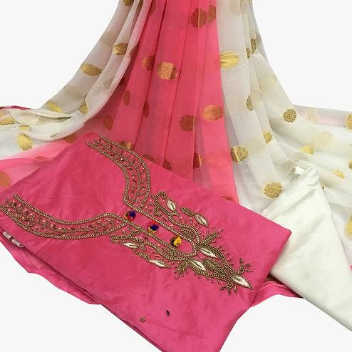 Innovative Light Pink Colored Partywear Embroidered Santoon Dress Material