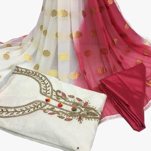 Fabulous White Colored Partywear Embroidered Santoon Dress Material