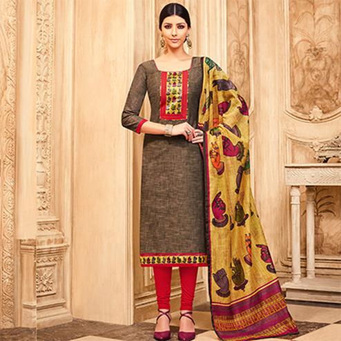 Elegant Brown Printed Partywear Art Silk Dress Material