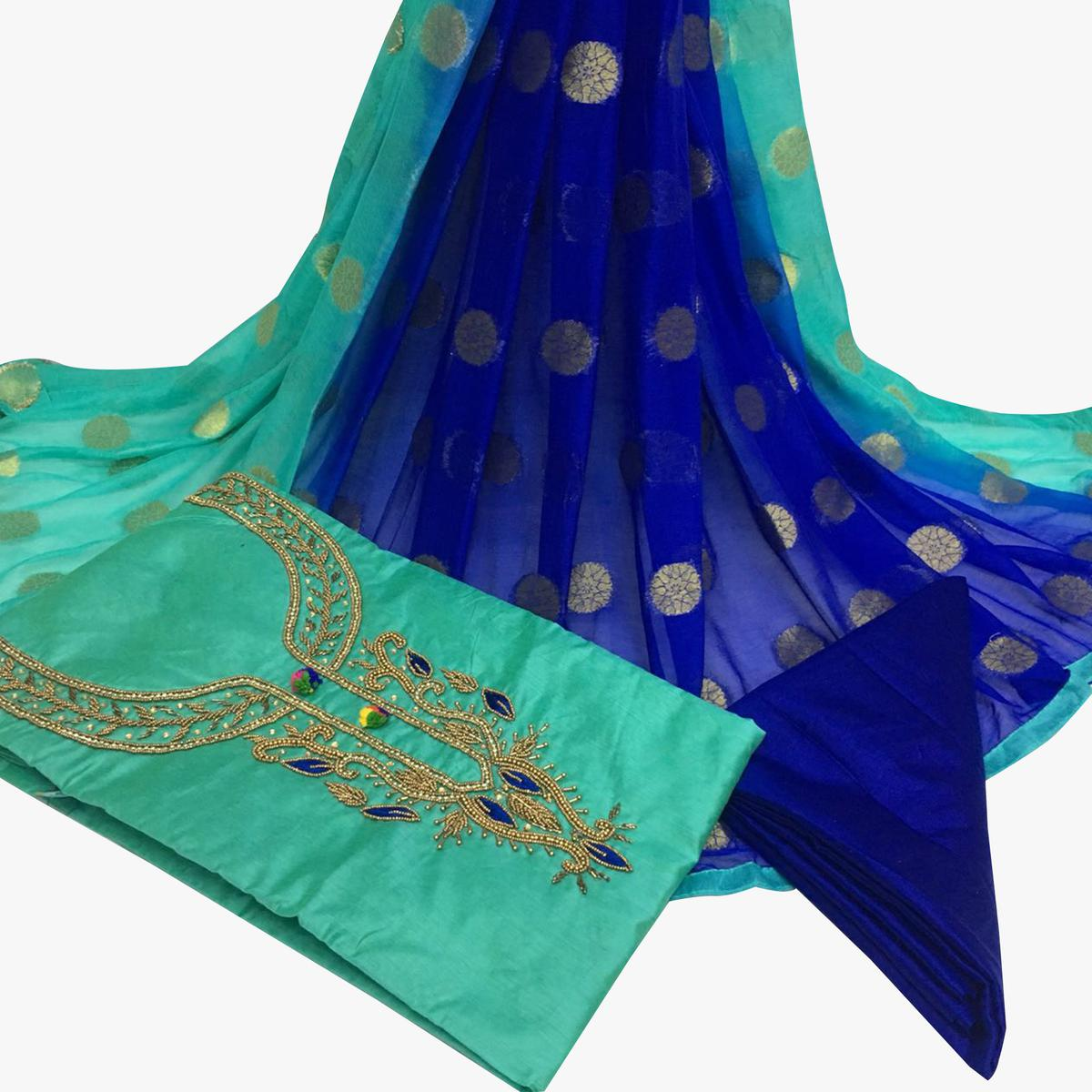 Famous Turquoise Green Colored Partywear Embroidered Santoon Dress Material