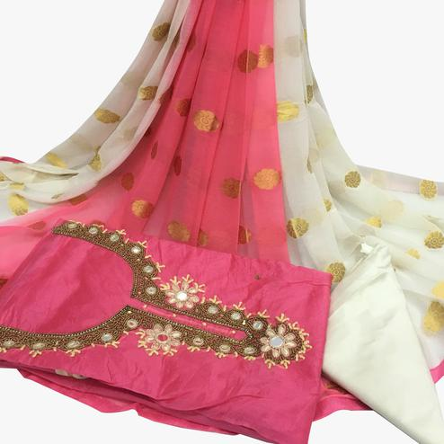 Adorning Light Pink Colored Partywear Embroidered Santoon Dress Material
