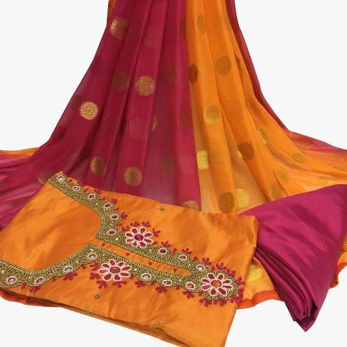 Favorite Orange Colored Partywear Embroidered Santoon Dress Material