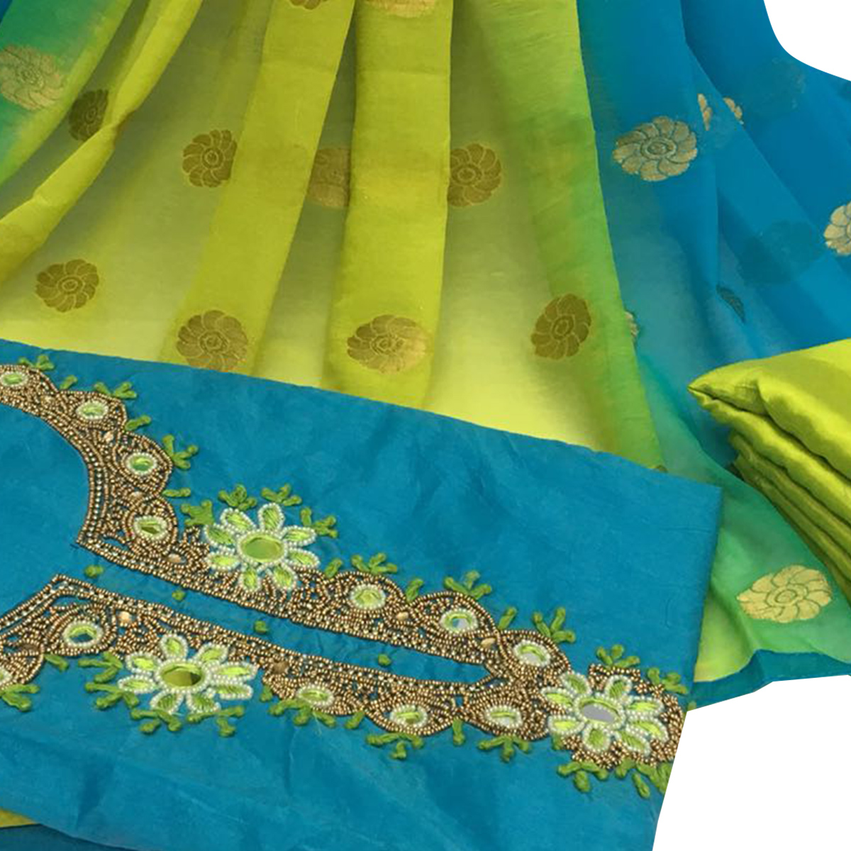 Demanding Sky Blue Colored Partywear Embroidered Santoon Dress Material