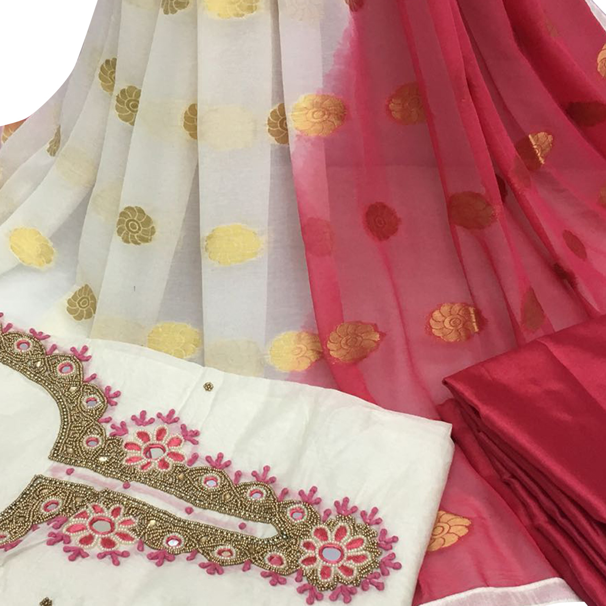 Impressive White Colored Partywear Embroidered Santoon Dress Material