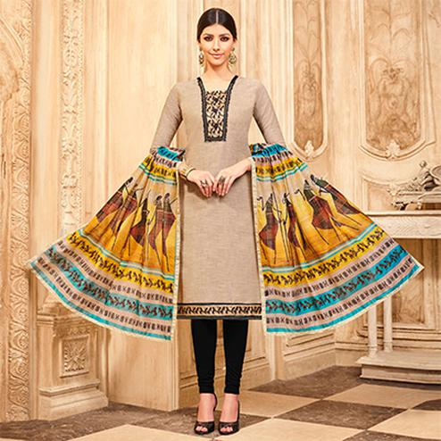 Mesmerising Beige Printed Partywear Art Silk Dress Material
