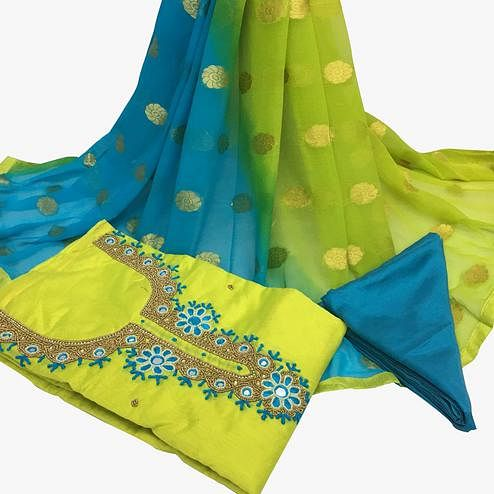 Traditional Green Colored Partywear Embroidered Santoon Dress Material