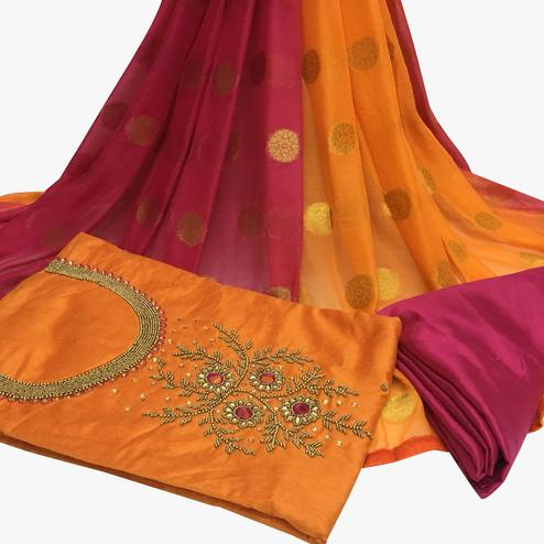 Traditional Orange Colored Partywear Embroidered Santoon Dress Material