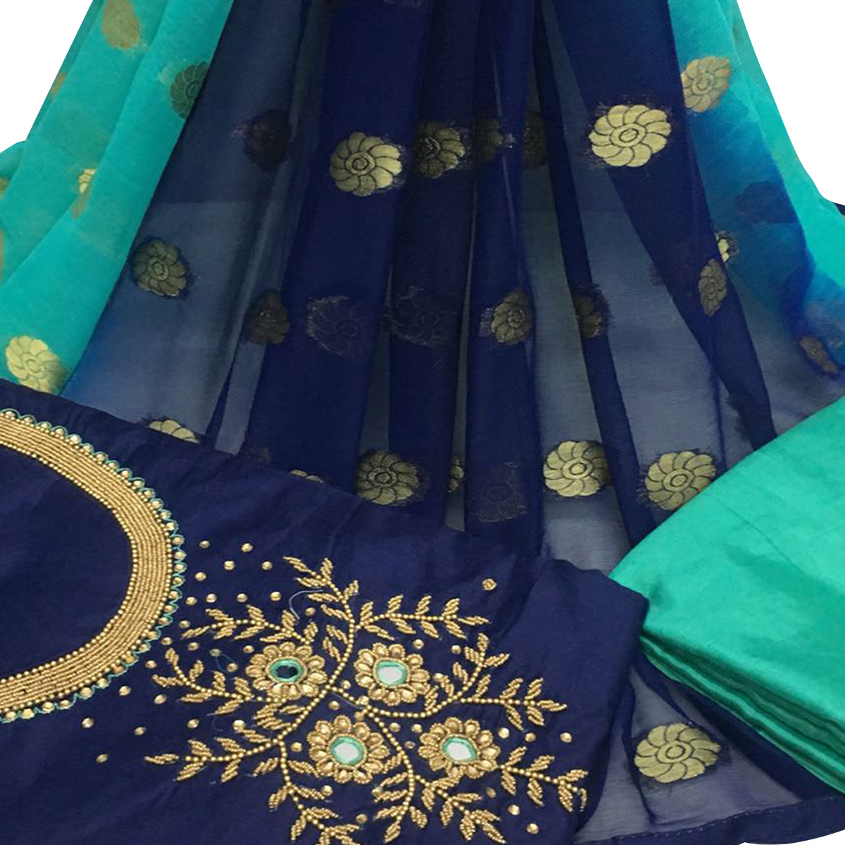 Beautiful Navy Blue Colored Partywear Embroidered Santoon Dress Material