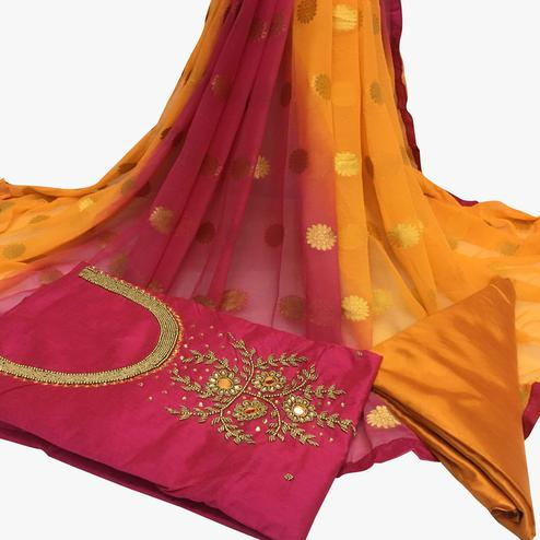 Surpassing Dark Pink Colored Partywear Embroidered Santoon Dress Material