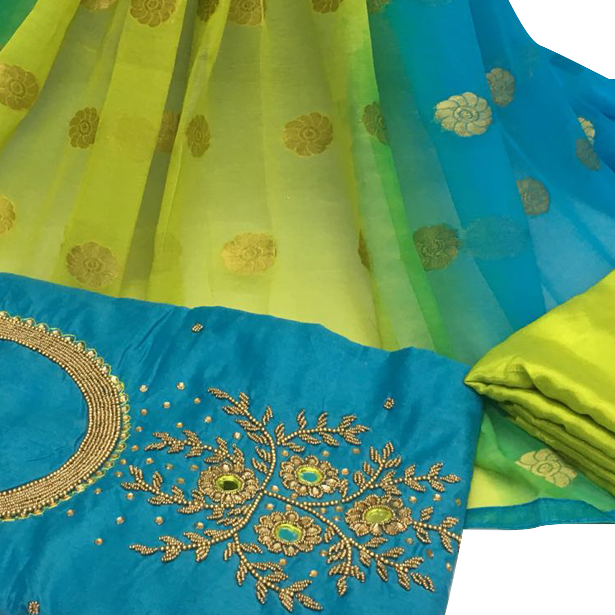 Opulent Sky Blue Colored Partywear Embroidered Santoon Dress Material