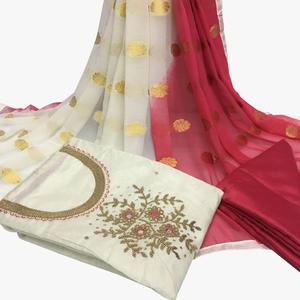 Classy White Colored Partywear Embroidered Santoon Dress Material