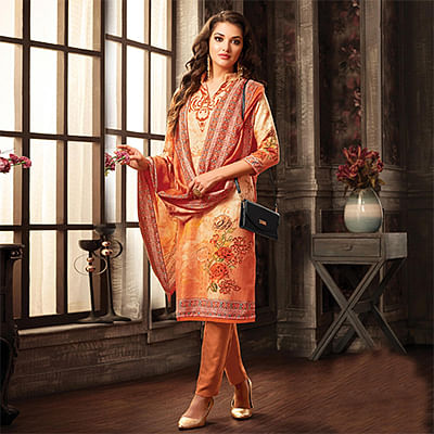 Stylish Peach Pashmina Wool Printed Partywear Dress Material