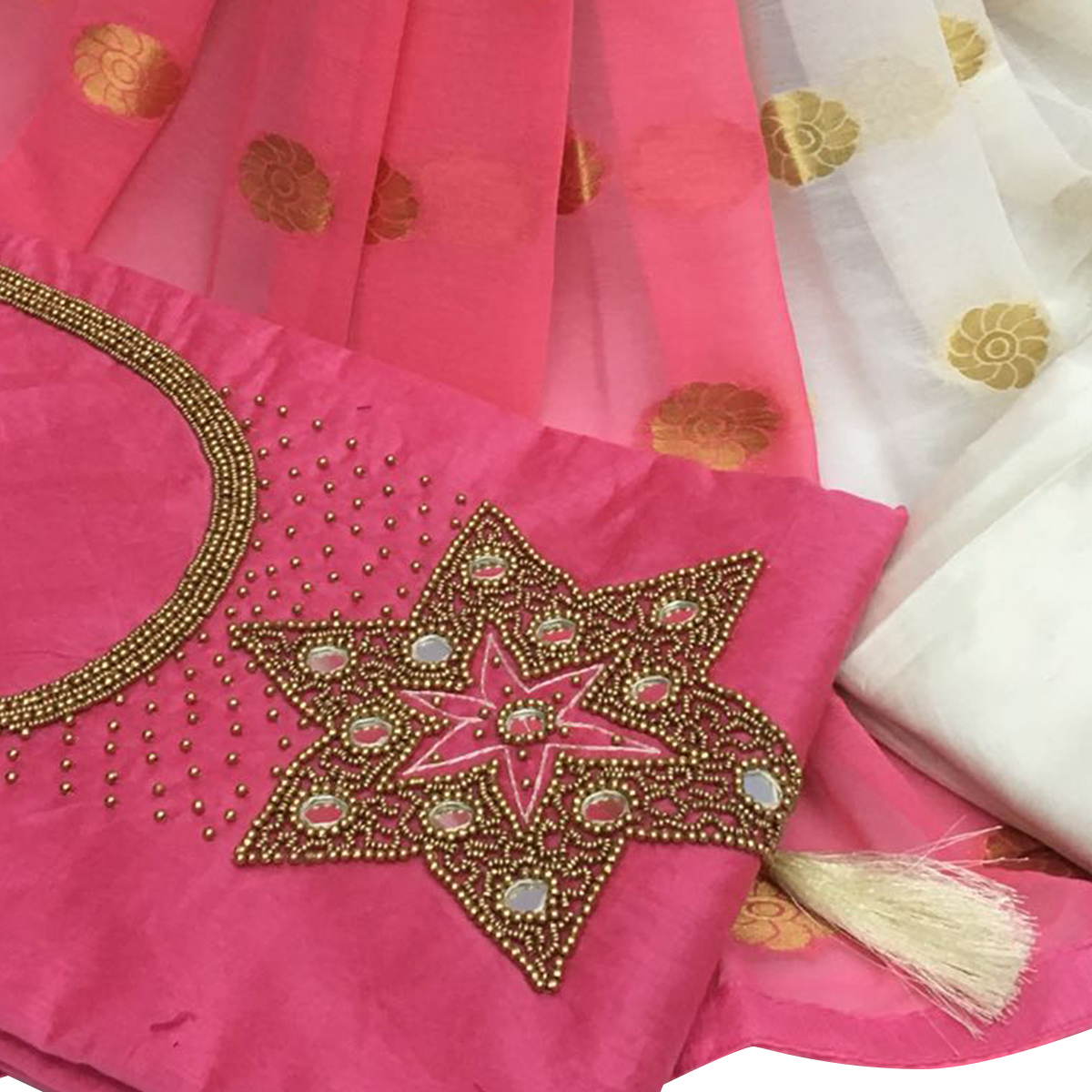 Fashionable Light Pink Colored Partywear Embroidered Santoon Dress Material