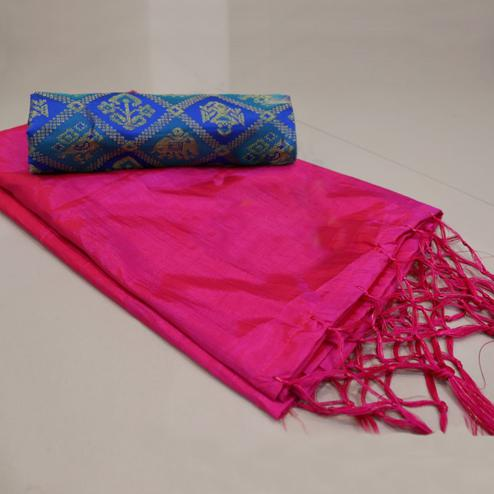 Attractive Pink Colored Festive Wear Sana Silk Saree