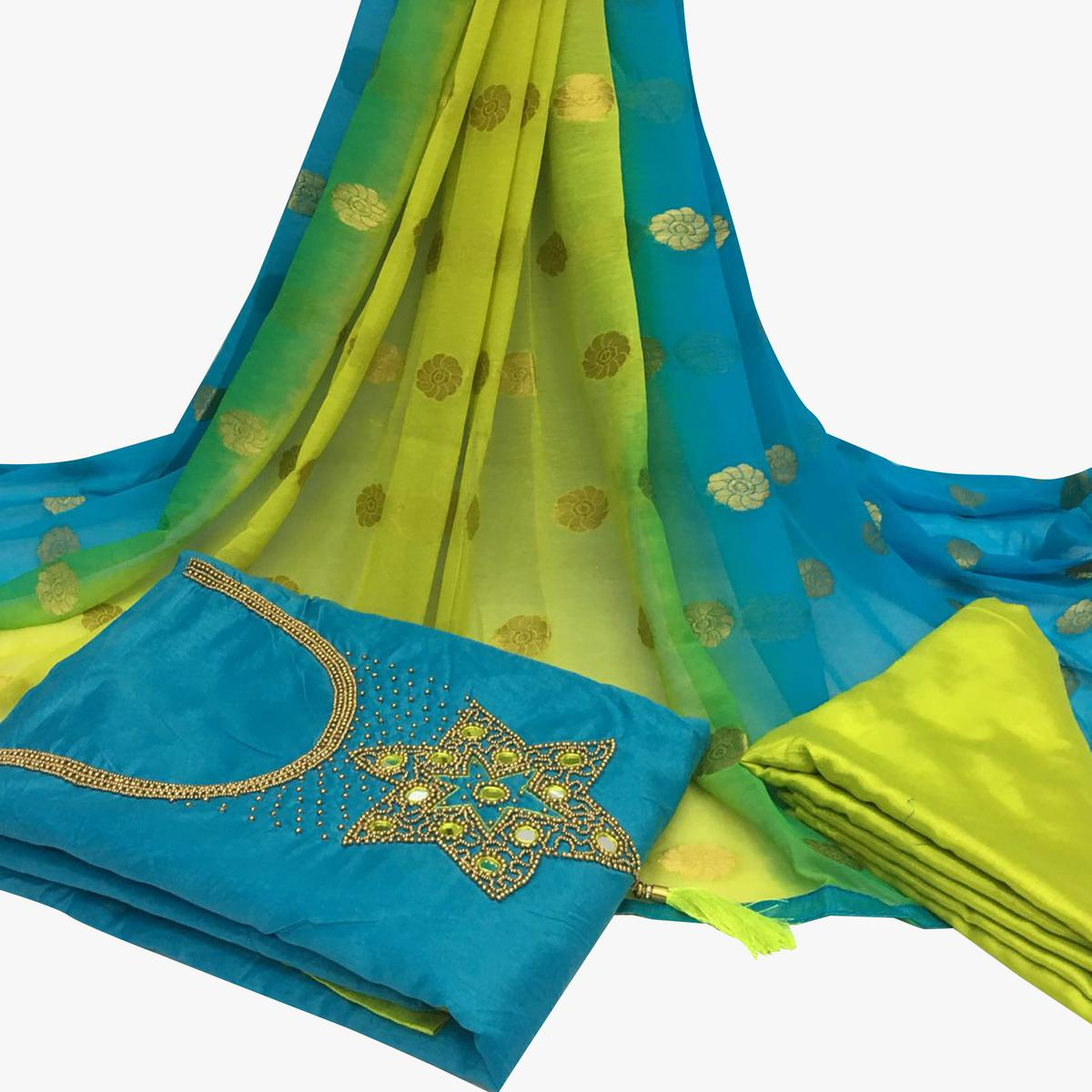 Alluring Sky Blue Colored Partywear Embroidered Santoon Dress Material