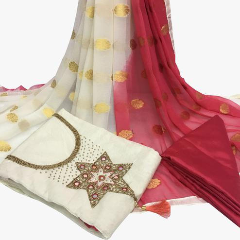 Fab White Colored Partywear Embroidered Santoon Dress Material
