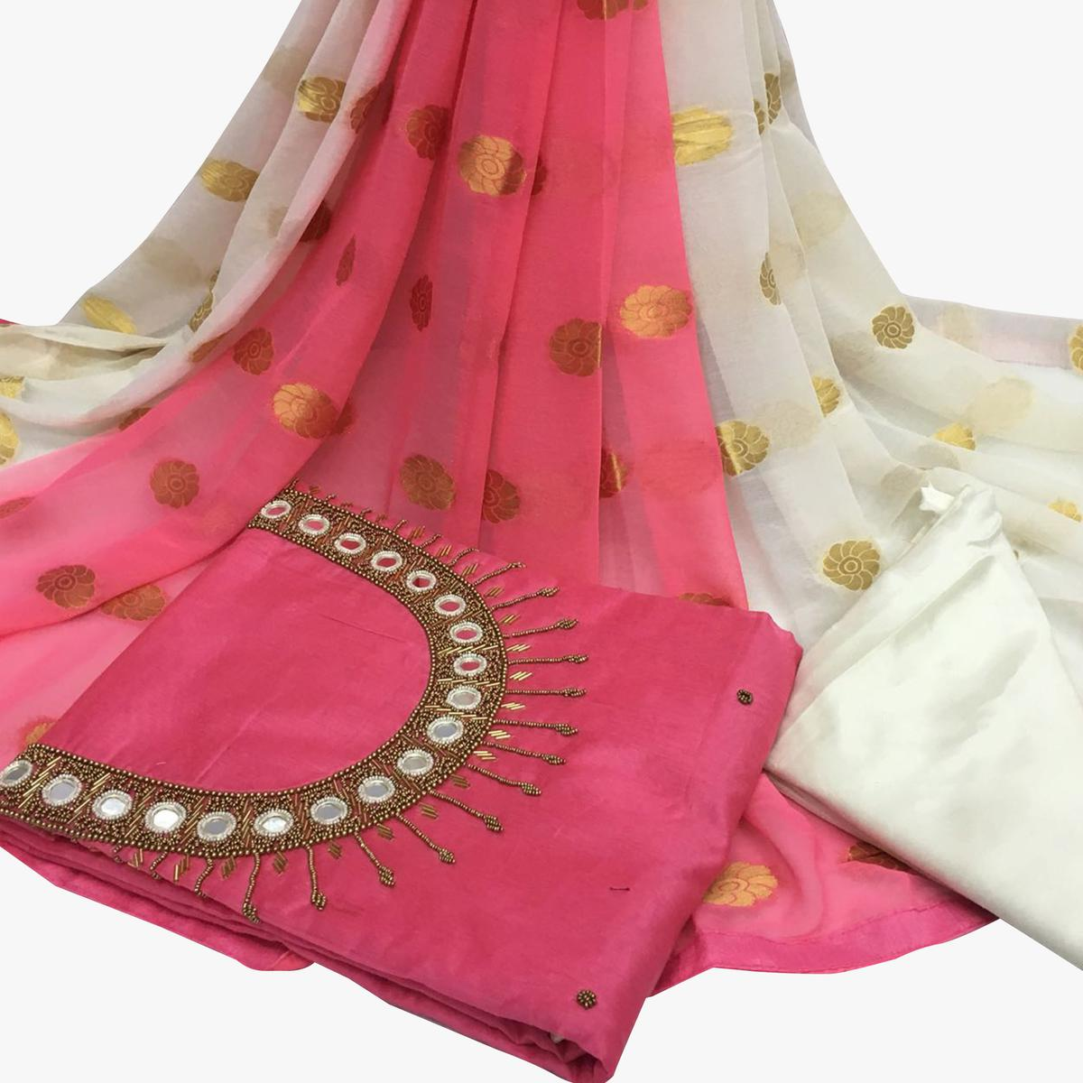 Incredible Light Pink Colored Partywear Embroidered Santoon Dress Material