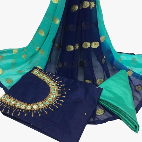 Diving Navy Blue Colored Partywear Embroidered Santoon Dress Material