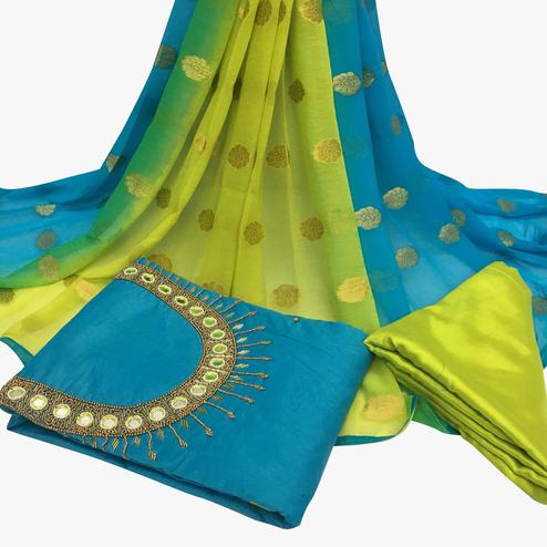 Charismatic Sky Blue Colored Partywear Embroidered Santoon Dress Material