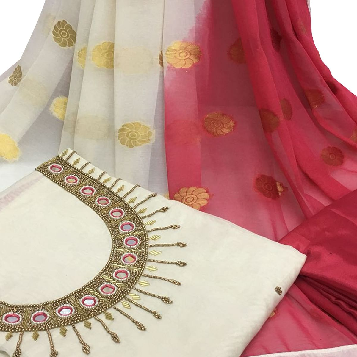 Glorious White Colored Partywear Embroidered Santoon Dress Material