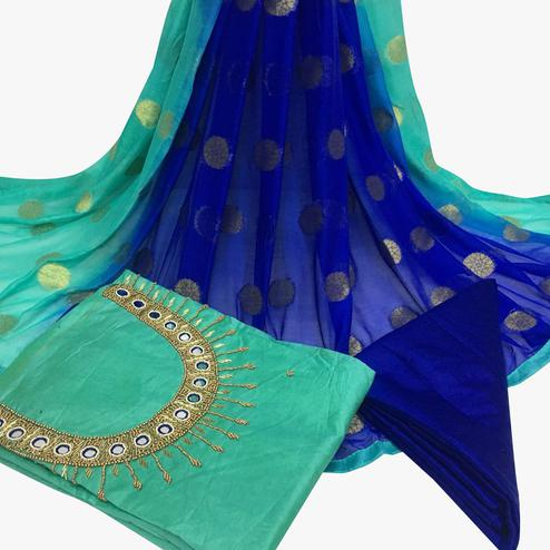 Energetic Turquoise Green Colored Partywear Embroidered Santoon Dress Material