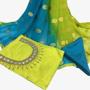 Elegant Green Colored Partywear Embroidered Santoon Dress Material
