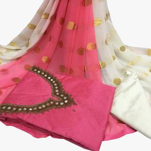 Imposing Light Pink Colored Partywear Embroidered Santoon Dress Material