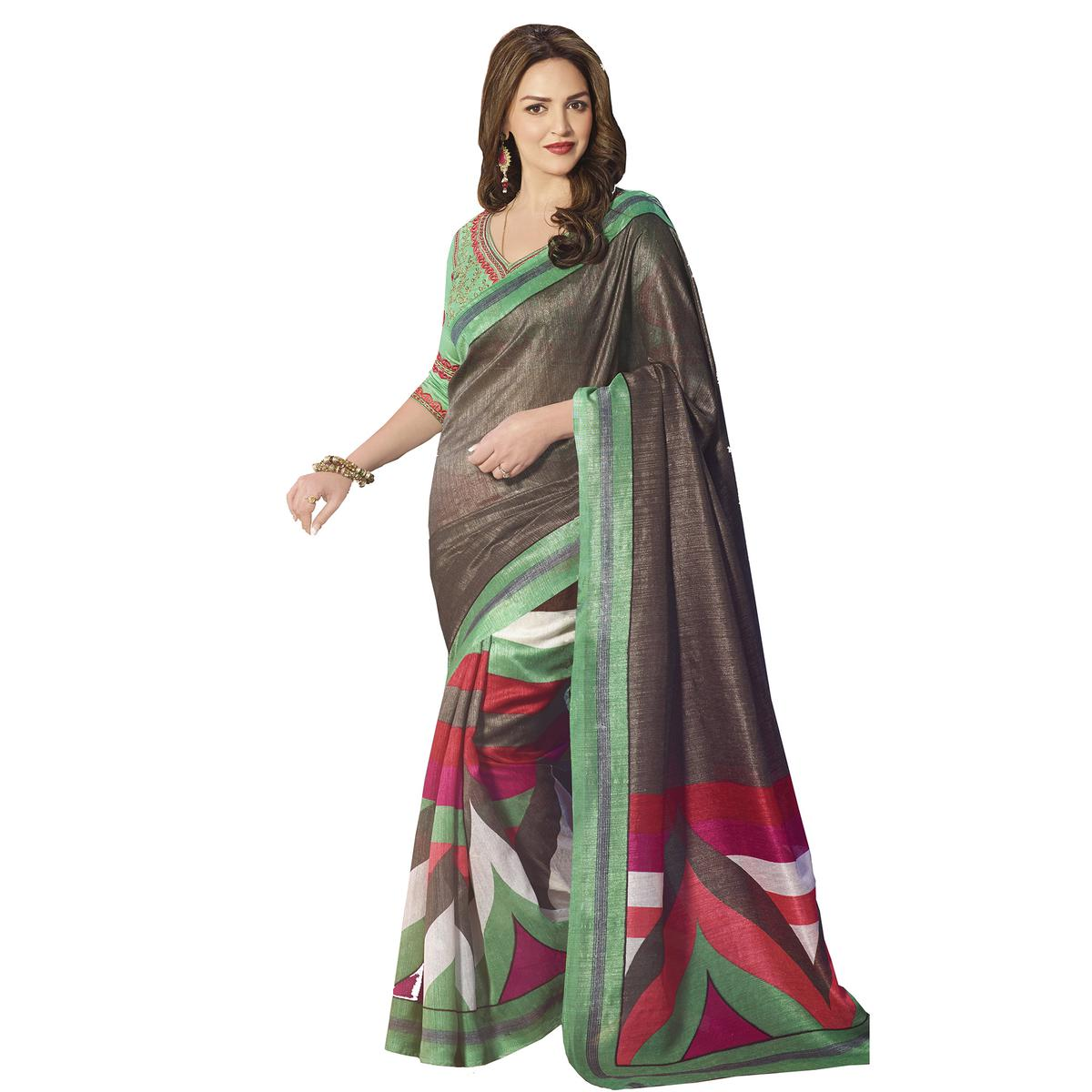 Brown - Sea Green Silk Saree
