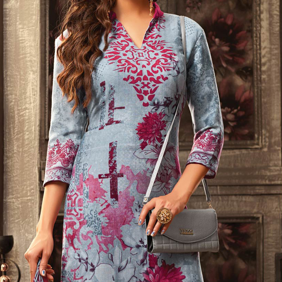 Lovely Grey Pashmina Wool Printed Partywear Dress Material