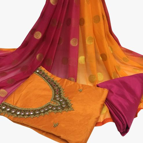 Precious Orange Colored Partywear Embroidered Santoon Dress Material