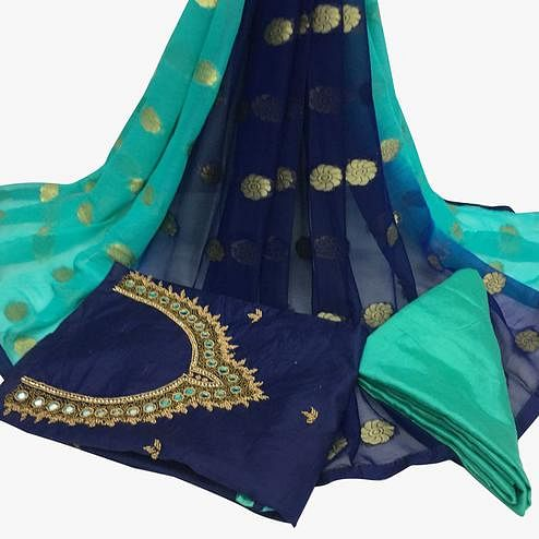 Awesome Navy Blue Colored Partywear Embroidered Santoon Dress Material