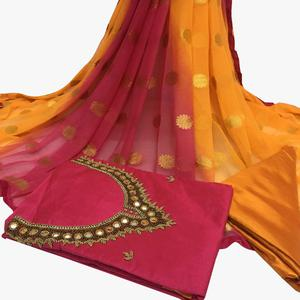 Preferable Dark Pink Colored Partywear Embroidered Santoon Dress Material