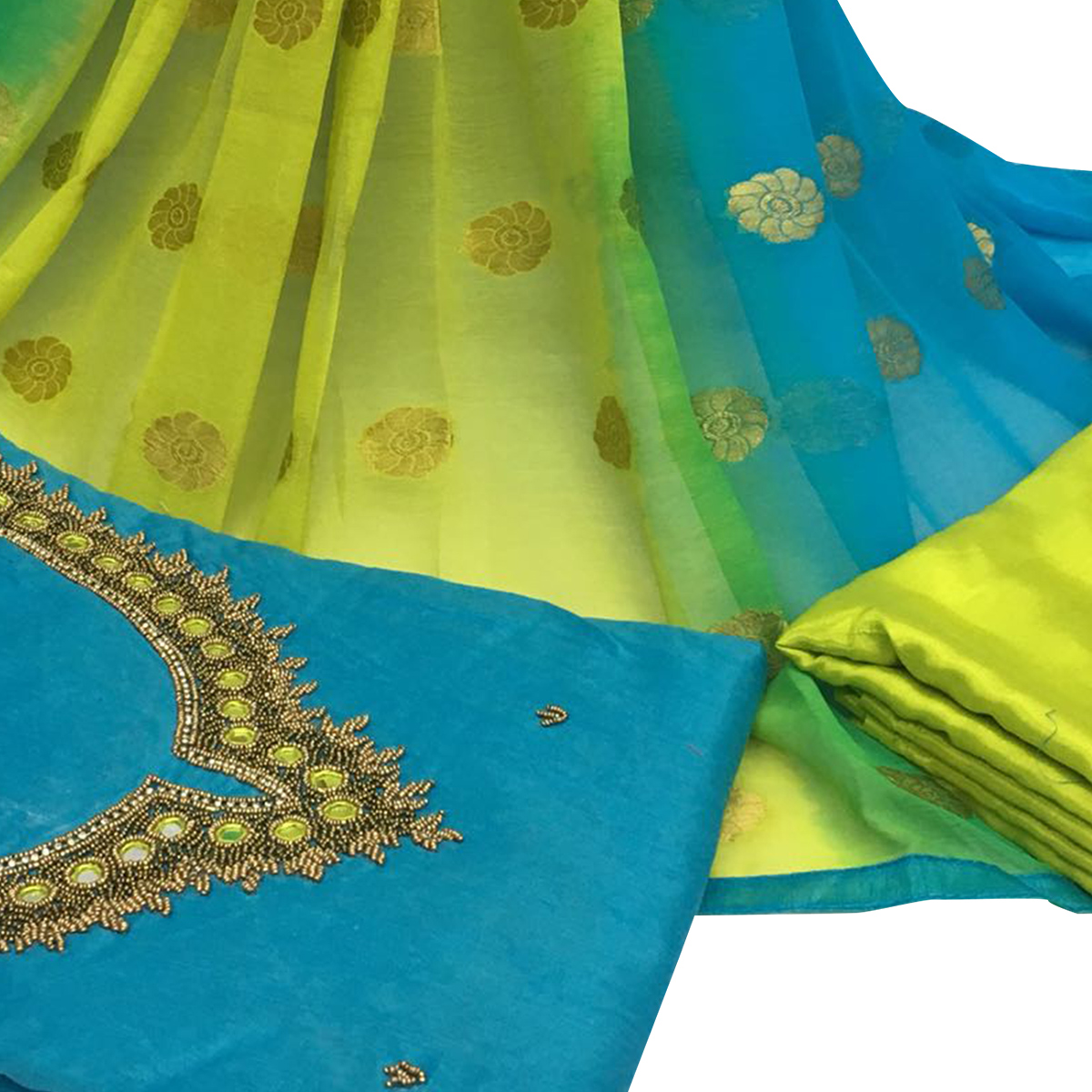 Gratifying Sky Blue Colored Partywear Embroidered Santoon Dress Material