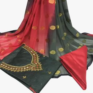 Classical Gray Colored Partywear Embroidered Santoon Dress Material