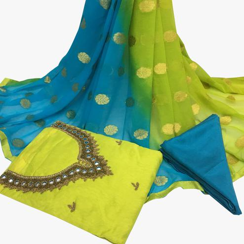 Ideal Green Colored Partywear Embroidered Santoon Dress Material